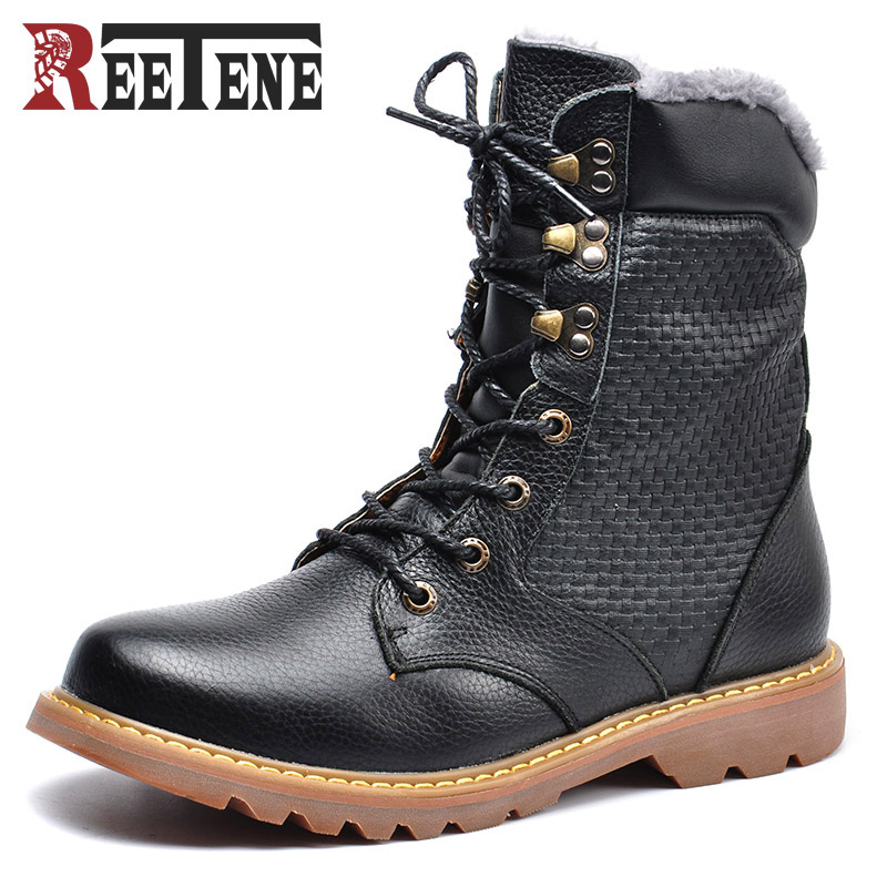 Big Size 38~48 Winter Genuine Leather Men Boots High Quality Handmade Mid-Calf Motorcycle Boots Men Russian Style Winter Shoes 2017 latest men s mid calf boots genuine leather buckle strap round toe men s leather shoes chakku motorcycle boots