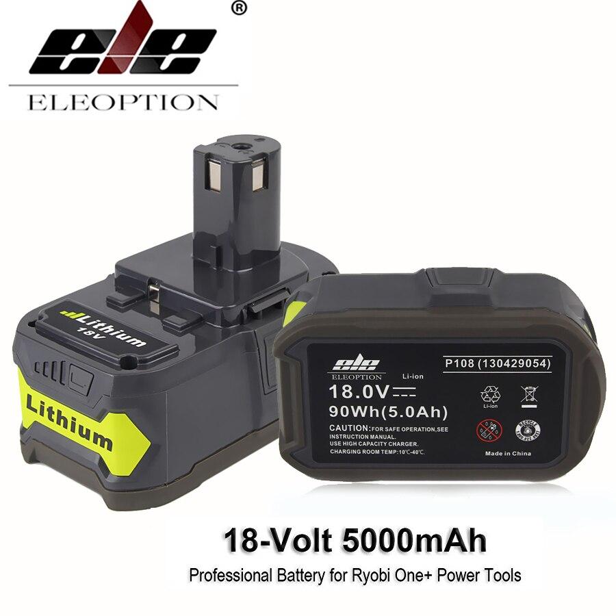 ELE ELEOPTION 18V 5000mAh Li-Ion Rechargeable 18V Lithium Battery For Ryobi P108 RB18L40 P2000 P310 For Ryobi ONE+ BIW180 набор bosch ножовка gsa 18v 32 0 601 6a8 102 адаптер gaa 18v 24