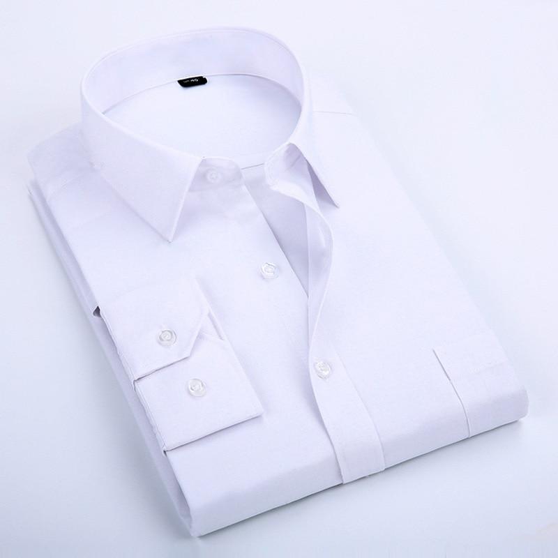 AOWOFS Men Shirt Long Sleeve Big Size Formal Men Shirts Office Clothing 6XL 7XL 8XL Dress Shirt Black camisa social masculina