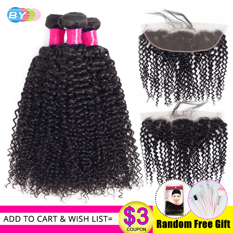 BY Brazilian kinky Curly Bundles With Lace Frontal Closure Free Part 13 x4 Swiss Lace Remy