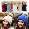Favorável da Neve do Inverno Chapéus Para Menina Mulher Gorros Hat Quente Knit Crochet Gorro de Pele De Guaxinim Pom Bobble Ski Cap Hat