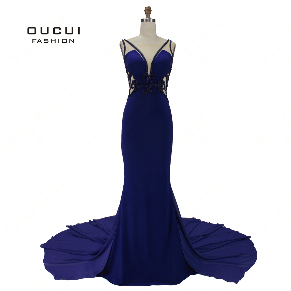 Elastic Jersey Backless Formal   Evening     Dress   2019 Trumpet Long Gowns With Court Train Handmade Beaded Beauty Vestido OL103177