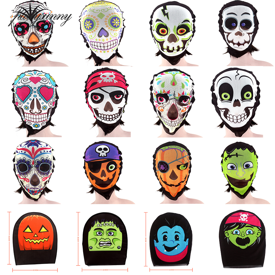 Cosplay Mascara Full Face Masks Horror Zombie Pirate Pumpkin Sugar Skull Masquerade Party Mask Headgear Net Yarn Supplies