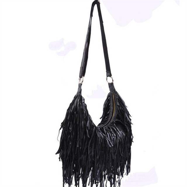 2017 Fashion 100 Genuine Leather Tassel Bags Women Shoulder Bag Fringe Multicolor Patchwork Handbags