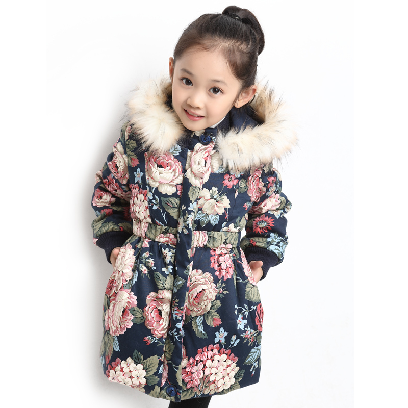 Children's clothing 2015 winter child cotton padded jacket wadded jacket plus velvet
