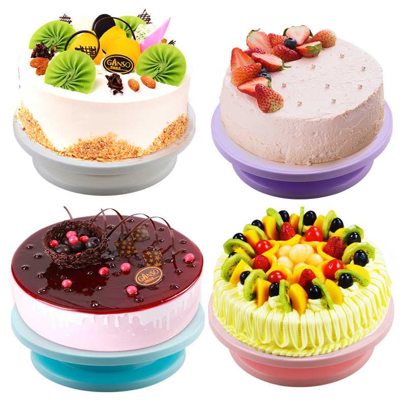 6 unids/set plato giratorio de plástico para pastel, cuchillo para masa de plástico, decoración de crema, soporte para tortas, mesa giratoria, herramienta para hornear Pan DIY