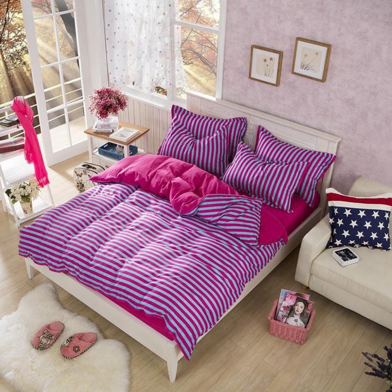 100 Polyester Microfiber Simple Stripe Bedding Set Duvet