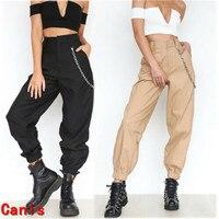 Женские повседневные брюки-карго с высокой талией, женские свободные однотонные брюки с боковыми карманами и эластичной резинкой на талии
