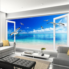Outside window Ocean blue sky Custom 3D mural wallpaper for walls 3 d TV backdrop bedroom living room sofa wall mural wall paper цена 2017