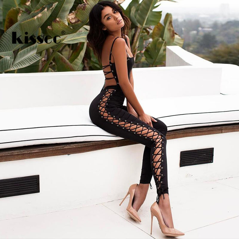 72d88d6dd8a Hollow Out Backless Jumpsuits Spaghetti Strap Sleeveless Bandage Jumpsuit Black  Bodycon Romper
