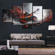 5 Piece World of Tanks Skulls Pictures Fantasy Art Canvas Paintings Wall for Home Decor