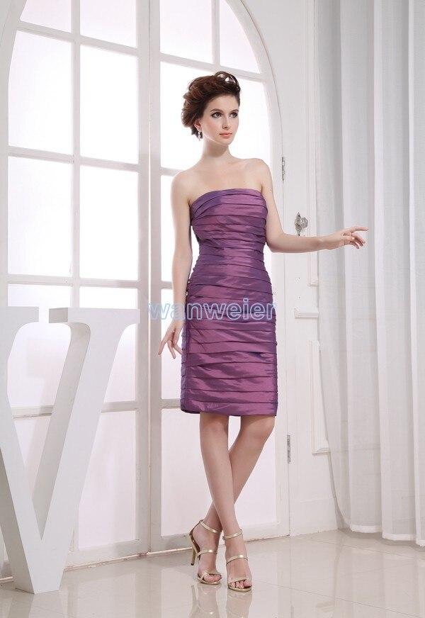 Free Shipping 2018 Short Formal New Design Purple Bandage Vestido-de-noiva Gown Custom Size/color Bridesmaid Dresses