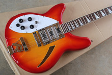 left handed electric guitar rickenback 340 cherry red hollow body 3 pickups 6 strings rickenback jazz guitar