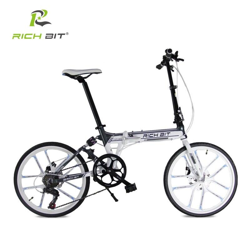 RichBit Новый 20-Дюймовый Складной Велосипед 7 Скоростей Heterotype Трубы Рамы Двойной Дисковый Тормоз Складной Велосипед Города 10 Спиц Складной Велосипед