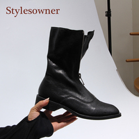 Stylesowner Sheepskin Leather Front Zipper Martin Boots Vintage Do Old Wrinkle Leather Fashion Round Toe Motorcycle Bootie 34 43