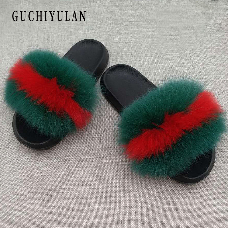 chausson femme fourrure Women Fur Slippers Luxury Real Fox Fur home slippers Shoes Fluffy Comfy Flip Flops Beach Flat SandalS