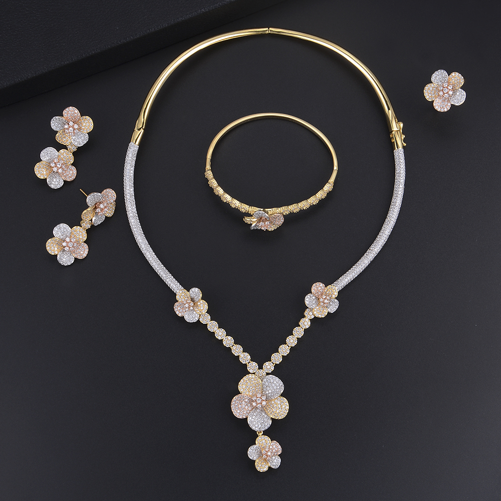 GODKI Luxury Nigerian Jewelry sets For Women Cubic Zirconia Dubai Gold Wedding Blossom Flowers Silver Indian bridal jewelry sets
