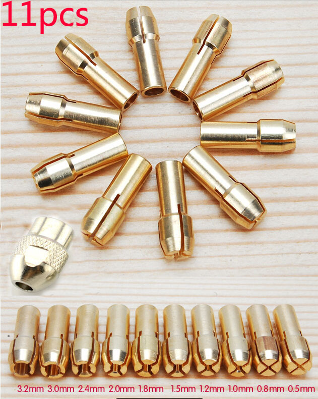 Купить со скидкой Free Shipping 11 Pieces Brass Dremel Collet Mini Drill Chucks Including 0.5/0.8/1.0/1.2/1.5/1.8/2.0/