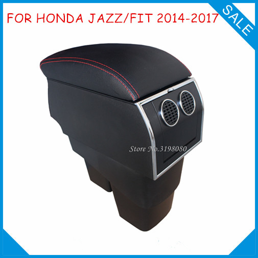 For HONDA NEW FIT JAZZ 2014-2017 8pcs USB Armrest,Car center arm rest console box with hidden cup holder Car Accessories Parts