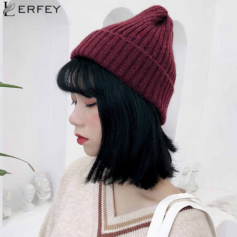 LERFEY Women Winter Hats Knitted Solid Cute   Skullies     Beanies   Autumn Female   Beanie   Caps Warmer Bonnet Ladies Casual Pointy Hat