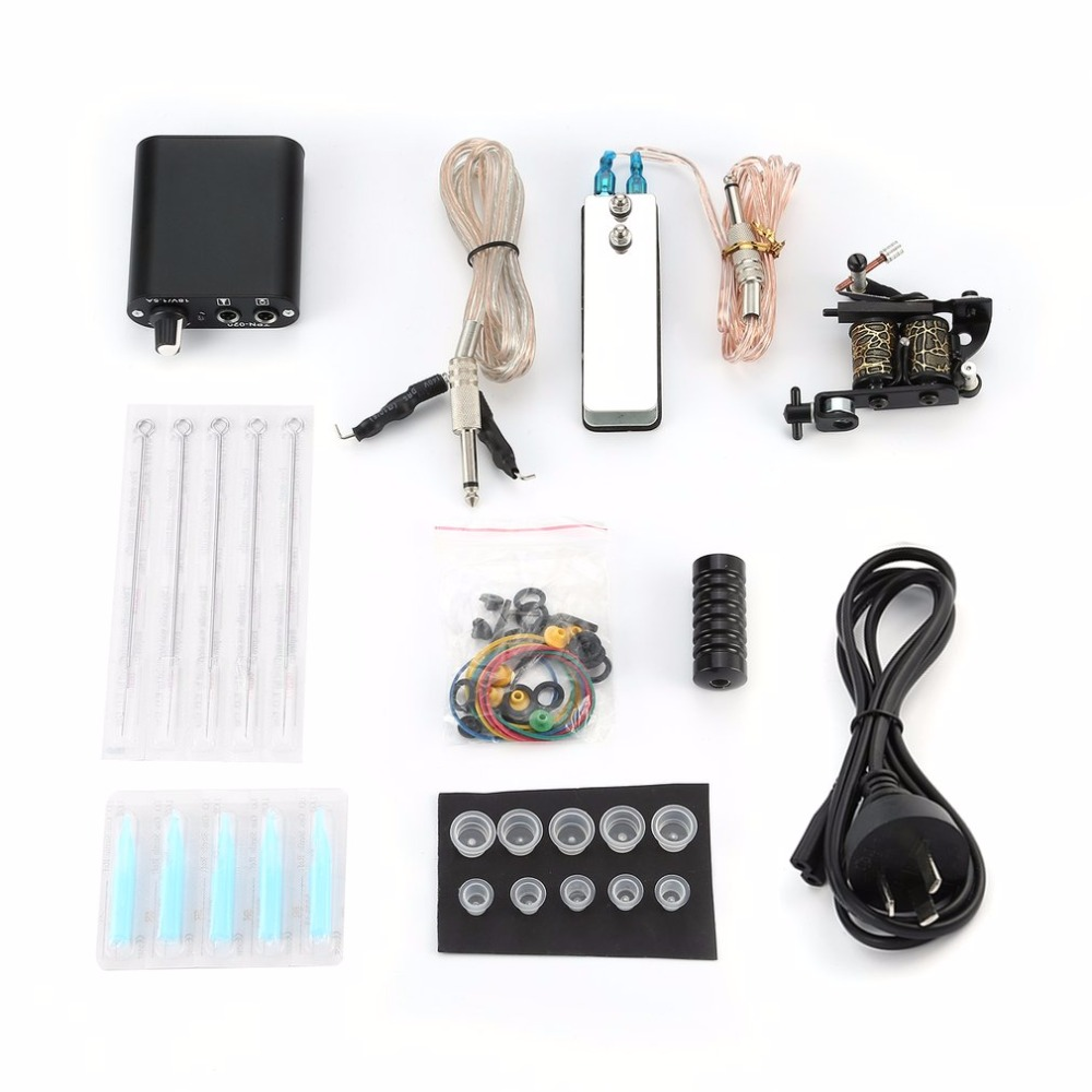 купить AU Plug Tattoo Complete Beginner Tattoo Kit Pro Machine Inks Power Supply Needle Grips Tips Tatto Accessories Basic Set по цене 1223.28 рублей
