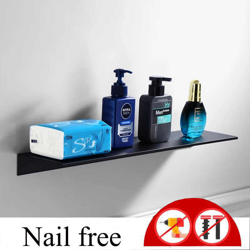 Nail Free Space Aluminum Black White Bathroom Shelves Kitchen Wall Shelf Shower Storage Rack Bathroom Accessories 30-60cm Lenght