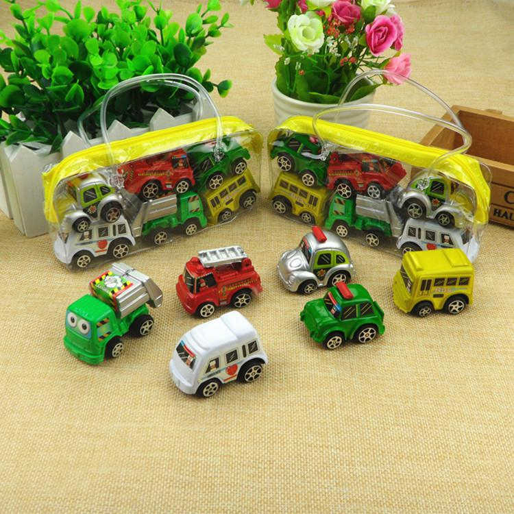 6pcs/set Boy Girl Cute Mini Pull Back Car Toys Cartoon Inertia Pullback Toy Set Truck Vehicle for Kids Toddlers