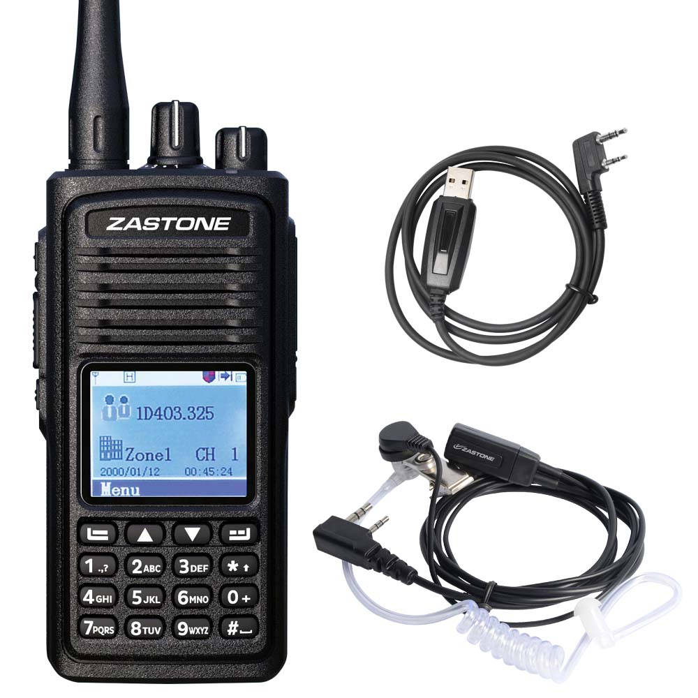 Zastone D900 Digital Walkie Talkie DMR Portable Digital Radio Transceiver UHF Handheld Two Way Radio Headset
