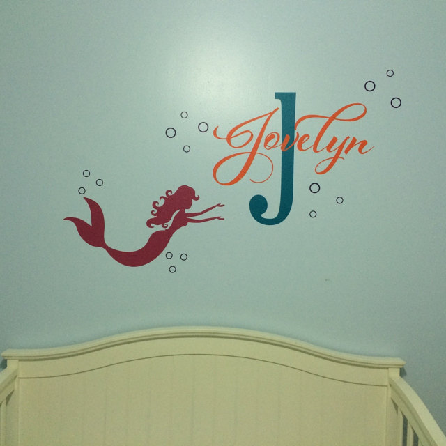 mermaid baby girl name custom nursery wall sticker vinyl lettering wall decals girls mermaid name decal bedroom decals 629c