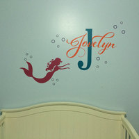 Mermaid Baby Girl Name Custom Nursery Wall Sticker Vinyl Lettering Wall Decals Girls Mermaid Name Decal Bedroom Decals 629C