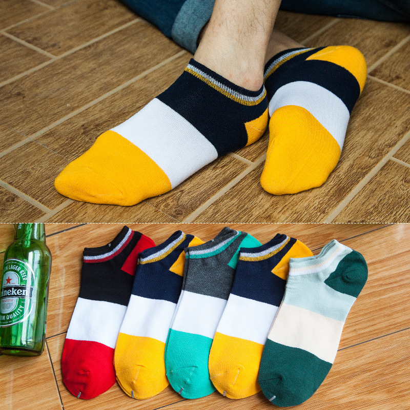 PEONFLY 17 type 5 pairs/lot Cotton Man Invisible Boat Spring And Summer Thin Section Leisure Time Motion Ventilation Socks Male