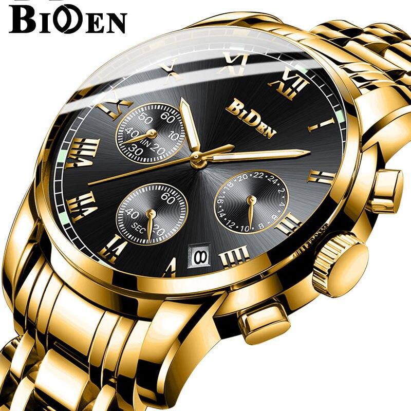 BIDEN Calender Gold Mens Watches Multifunctional Clock Stainless Steel Strap Business luxury Quartz Wristwatch relogio masculino