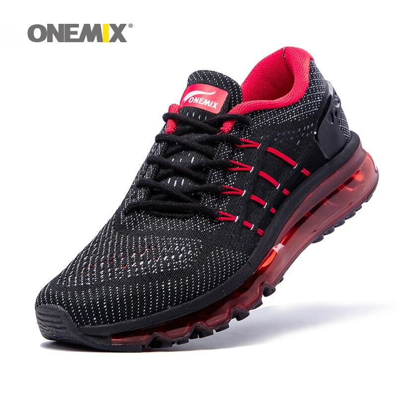 Max Homme Chaussures de Course pour Hommes 2018 Chaussure Unique Langue Athletic Trainers Noir Rouge Hommes Respirant Sport Chaussures Baskets De Coussin