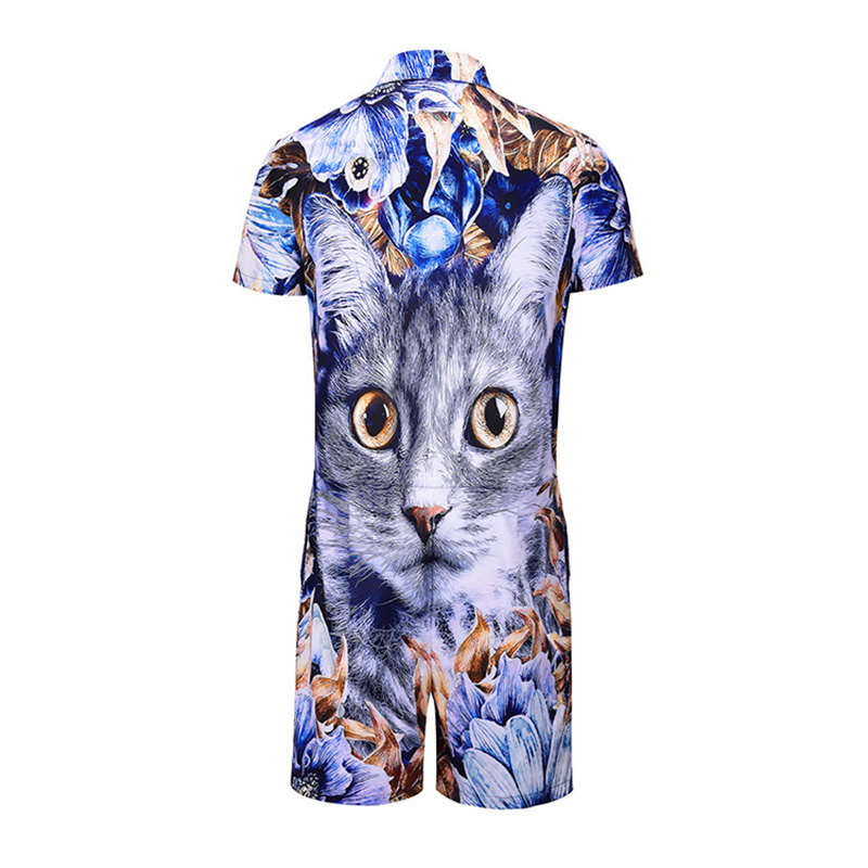 New Brand Jumpsuit Short Sleeve T-Shirt + Pants European And American Style Large Size Men's Digital Printed Jumpsuit Cat Pajams