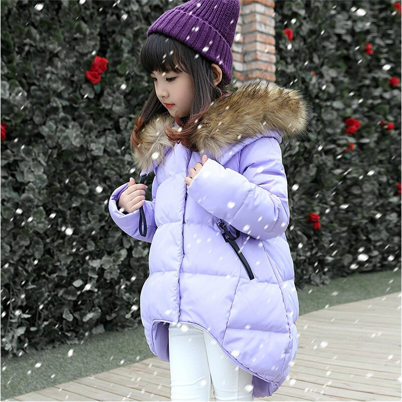 Children Winter Jacket For Girls New Brand Fashion Fur Hooded Outwear Long-sleeves Parka Down Coat Cotton Warm Kids Clothes