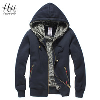 HanHent Thickened Brand Men Coats Faux Fur Fashion Mens Tracksuit Hoodies 2018 Winter Warm Sweatshirt Hooded Male AG0014