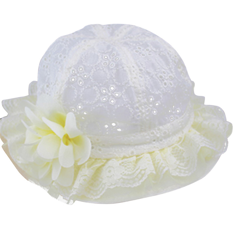 Summer Baby Hat For Girls Baby Beanie Cap For Boys Girls Flower Lace Cotton Hat Sun Cap Suit for 1-3T Baby M8Y11
