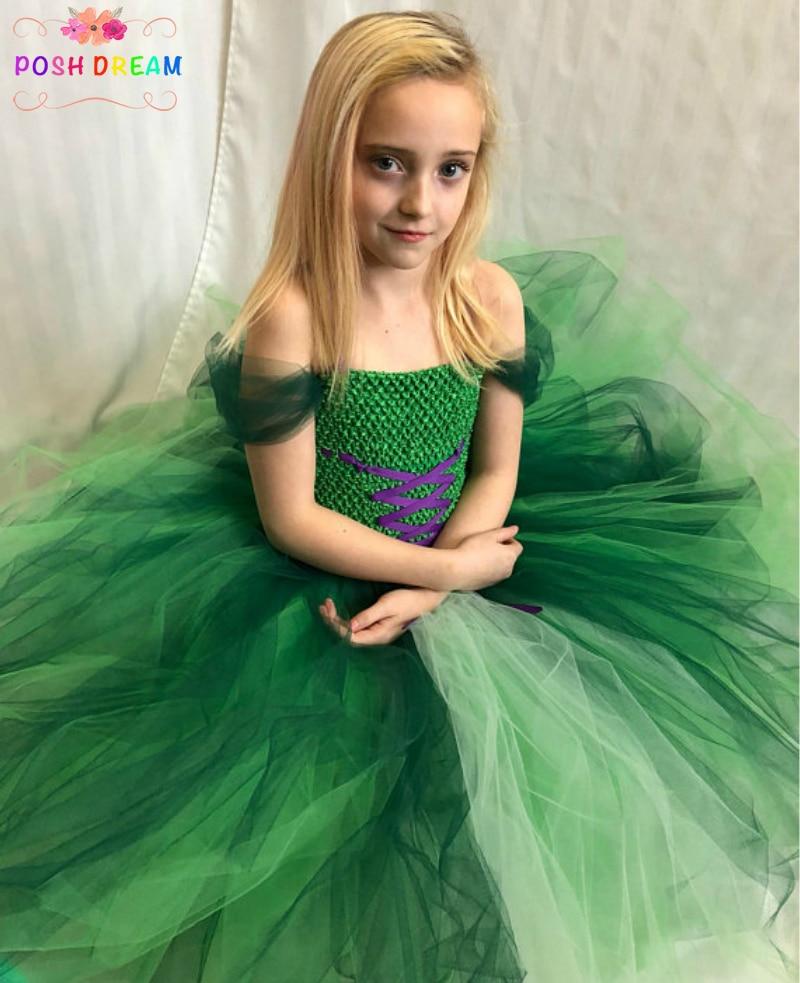 POSH DREAM Little Mermaid Inspired Children Kids Girls Tutu Dresses Green Black Mermaid Cosplay Flower Girl Cosplay Costumes little mermaid