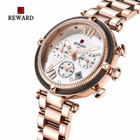 2019 Reloj Mujer REWARD Women's Watches Luxury Brand Sport Watch Women Chronograph Auto Date Ladies Watch Clock Montre Femme