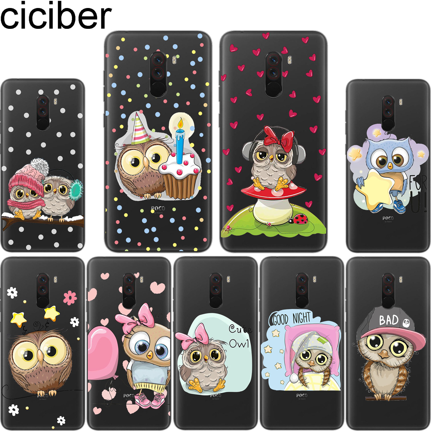 ciciber Owl Heart For Xiaomi A1 A2 8 6 5 X 5C 5S Plus Lite SE Poco Phone F1 Clear Soft TPU for MIX MAX 3 2 1 S Pro Phone Cases