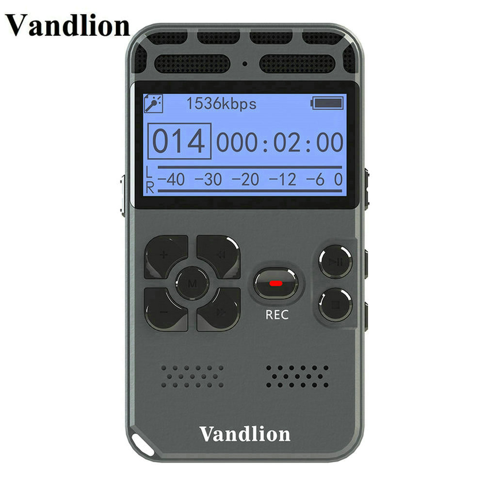 лучшая цена Vandlion Digital Voice Recorder Audio Recording Dictaphone MP3 LED Display Voice Activated 8GB 16GB Memory Noise Reduction V35