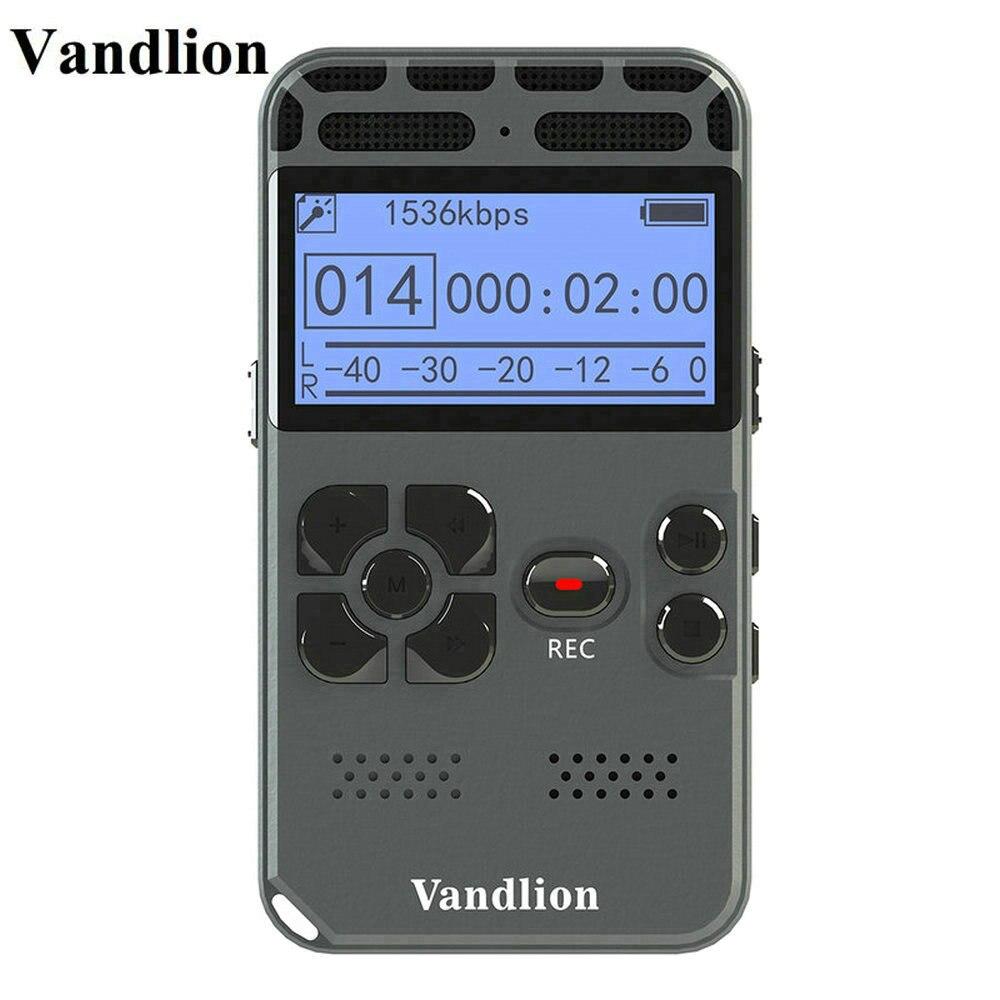 Vandlion Gravação de Áudio Gravador de Voz Digital Ditafone MP3 Display LED Ativada Por Voz 8 gb gb de Memória 16 V35 de Redução de Ruído