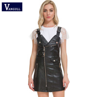 2018 new cool&sweet lady woman casual Europe style black all match pockets girl zipper loose Soft PU Faux Leather Strap dress