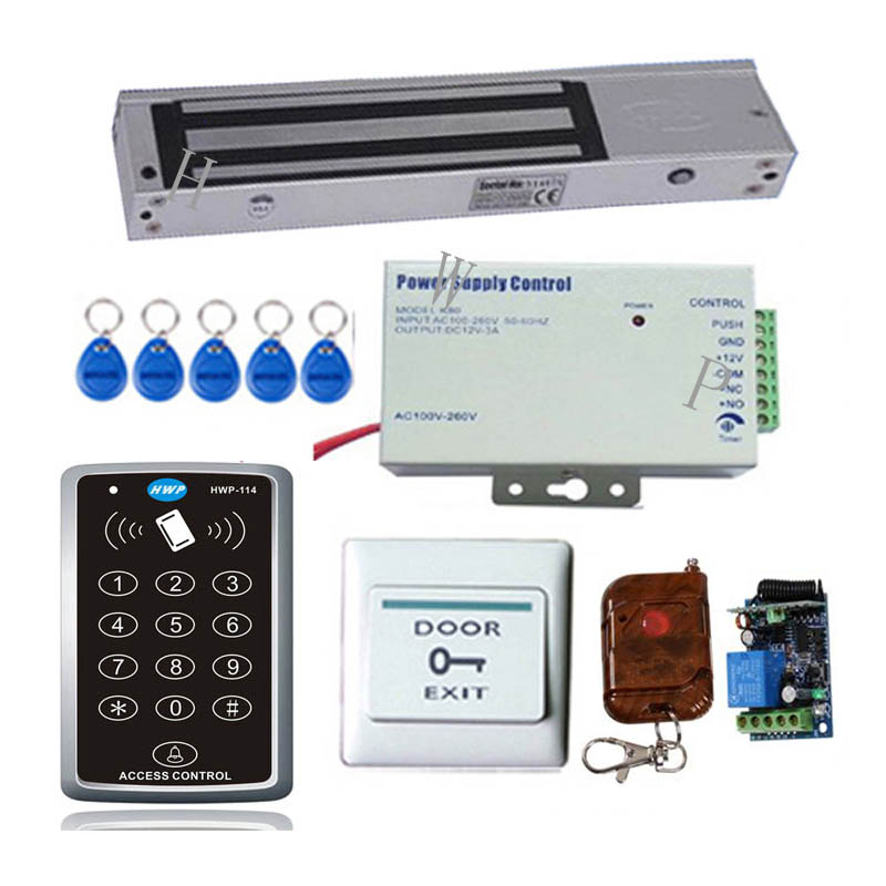 RFID access control kit Access control with 400Lbs(180KG) EM lock and remote control to open door Free shipping free shipping touch keypad rfid card and password door access control system with 180kg em lock bolt lock and power supply