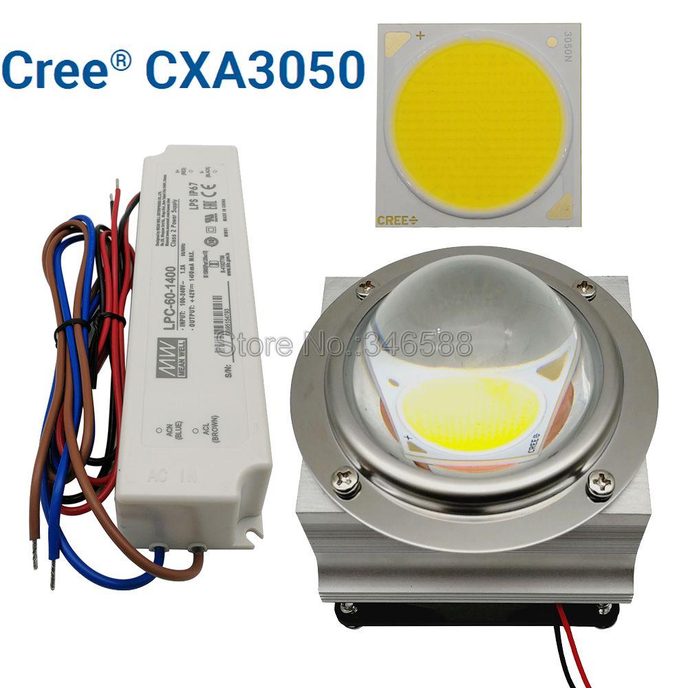 CREE CXA3050 COB LED Light DIY Module LED Array LED Lamp With 50-60W MEANWELL LPC-60-1400 Driver & 66mm Glass Lens & Heatsink