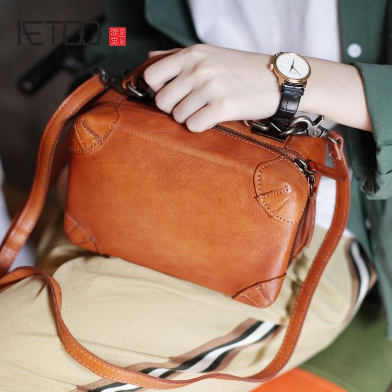 672ee5de2 AETOO nuevo japonés retro hecho a mano caja en forma de pequeña bolsa  cuadrada doble cremallera diagonal paquete literario bolso de hombro