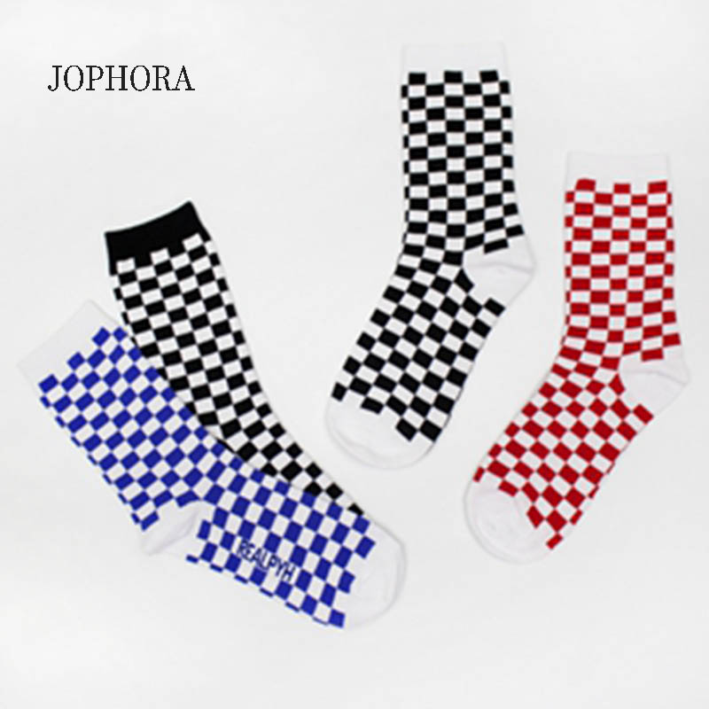 JOPHORA 2019 Korea Harajuku style checkerboard square black and white solid color sports cotton   socks   men and women trend