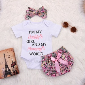 2020 Newborn Baby Girl Daddys Girls Top Romper and Floral Short Pants Outfit Clothes sweet and lovely summer Infant Girls Cloth(China)