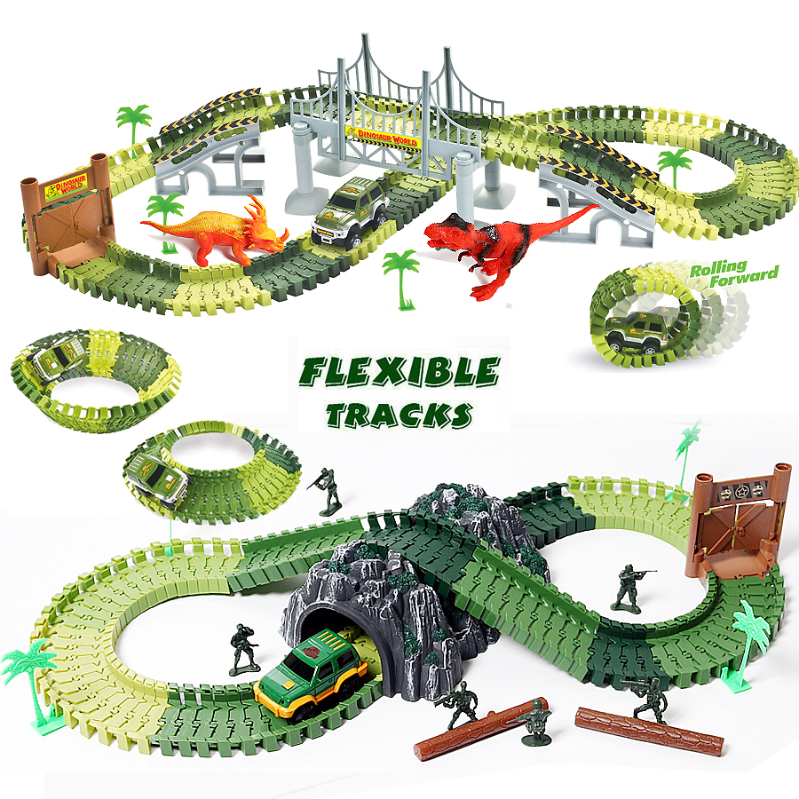 Race Track Dinosaur Toys Create A Road Military Diecast Flexible Track Bend Set With Accessories Educational Toys For Children