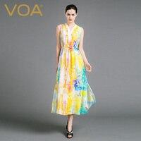 VOA 2017 Summer Fashion New Sleeveless Silk Slim Bohemian Dress Women V neck Plus Size Lace up Beach Maxi Dress vestidos A6861